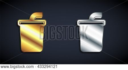 Gold And Silver Paper Glass With Drinking Straw And Water Icon Isolated On Black Background. Soda Dr