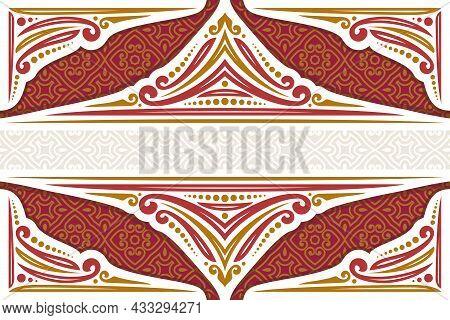 Vector Decorative Frame, Ornate Decoration With Flourishes For Muslim Festive Invitation, Vintage Fi