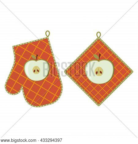 Oven Mitt And Oven Mitt, Color Isolated Vector Illustration In The Flat Style.