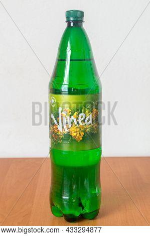 Deblin, Poland - June 8, 2021: Bottle Of Vinea. Vinea Is A Carbonated Grape-based Soft Drink Invente