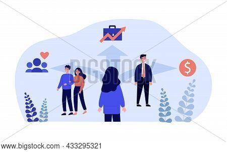 Cartoon Woman Choosing Between Relationships, Job And Money. Female Standing At Crossroads Flat Vect