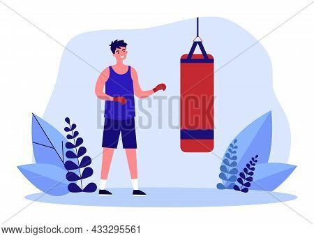 Cartoon Boxer Standing In Front Of Punching Bag. Man In Boxing Gloves Training Flat Vector Illustrat