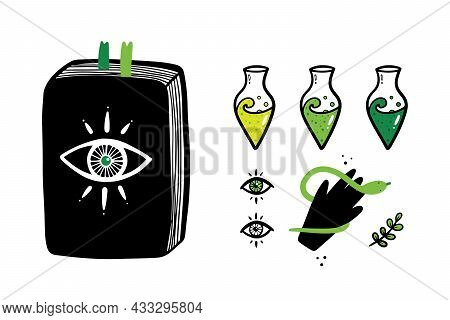 Set, Collection Of Magic, Witchcraft, Spiritual Related Icons. Spell Book, Potions, Herb, Magic Eyes