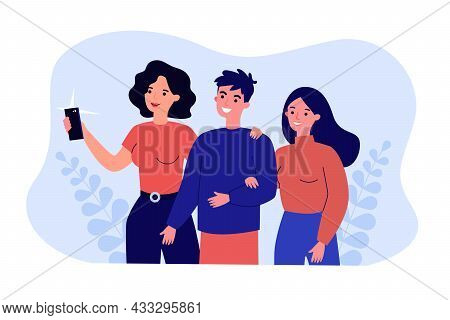 Cute Cartoon Couple Taking Selfie On Phone With Mother. Boyfriend, Girlfriend And Woman Taking Photo