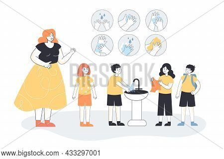 Cartoon Boy Properly Washing Hands In Sink At School. Female Character Teaching Kids Hygiene Flat Ve