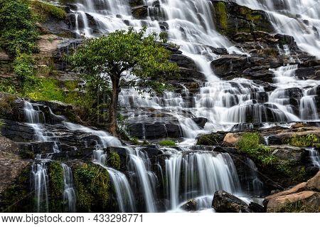 Mae Ya Waterfall Is Most Beautiful Cascades In Doi Inthanon, Chiang Mai, Thailand.