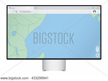 Computer Monitor With Map Of Seychelles In Browser, Search For The Country Of Seychelles On The Web