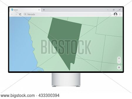 Computer Monitor With Map Of Nevada In Browser, Search For The Country Of Nevada On The Web Mapping