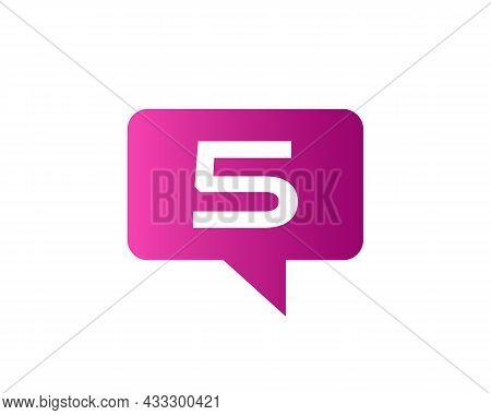 Chat Logo On 5 Letter Concept. Letter 5 Chat Logo. Letter 5 Communication Logo Design Template