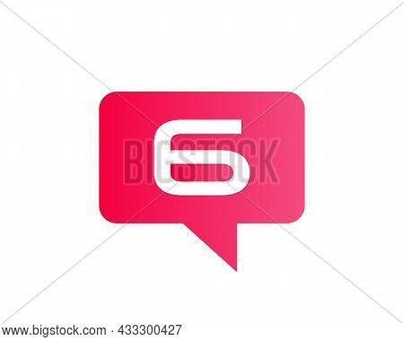 Chat Logo On 6 Letter Concept. Letter 6 Chat Logo. Letter 6 Communication Logo Design Template