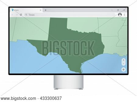 Computer Monitor With Map Of Texas In Browser, Search For The Country Of Texas On The Web Mapping Pr