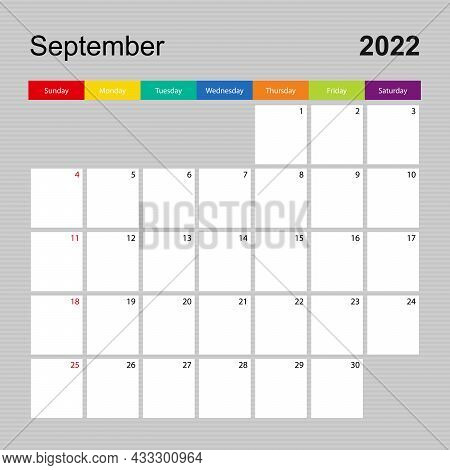 Calendar Page For September 2022, Wall Planner With Colorful Design. Week Starts On Sunday. Vector C