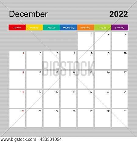 Calendar Page For December 2022, Wall Planner With Colorful Design. Week Starts On Sunday. Vector Ca