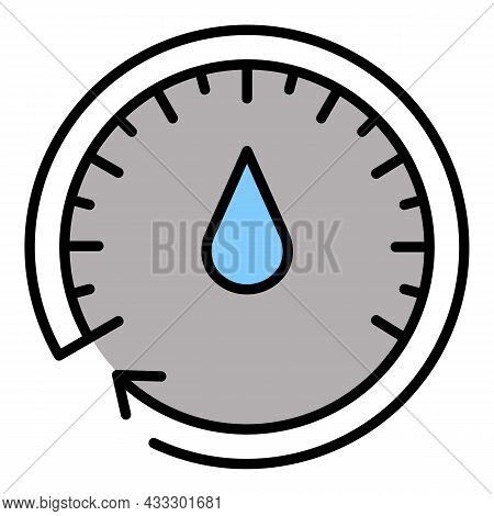 Oil Meter Icon. Outline Oil Meter Vector Icon Color Flat Isolated