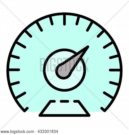 Km Per Hour Speedometer Icon. Outline Km Per Hour Speedometer Vector Icon Color Flat Isolated