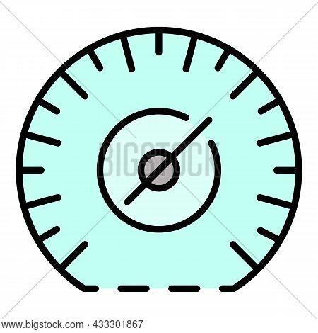 Mile Per Hour Speedometer Icon. Outline Mile Per Hour Speedometer Vector Icon Color Flat Isolated