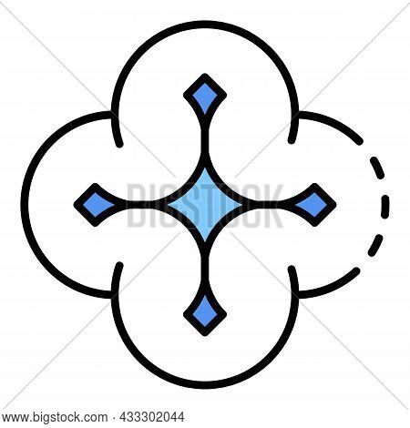 Flying Drone Icon. Outline Flying Drone Vector Icon Color Flat Isolated