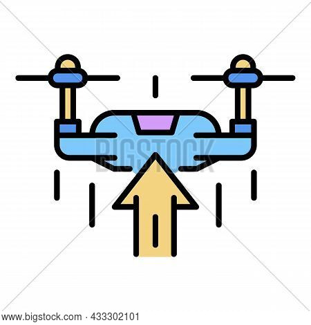 Drone Rise Up Icon. Outline Drone Rise Up Vector Icon Color Flat Isolated