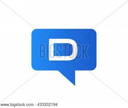 Chat Logo On D Letter Concept. Letter D Chat Logo. D Letter With Speech Bubble Logo. Letter D Commun