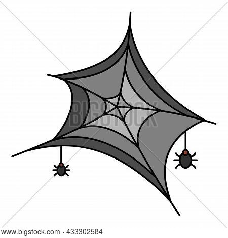 Small Spider On Web Icon. Outline Small Spider On Web Vector Icon Color Flat Isolated