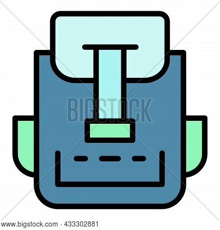 Canvas Backpack Icon. Outline Canvas Backpack Vector Icon Color Flat Isolated