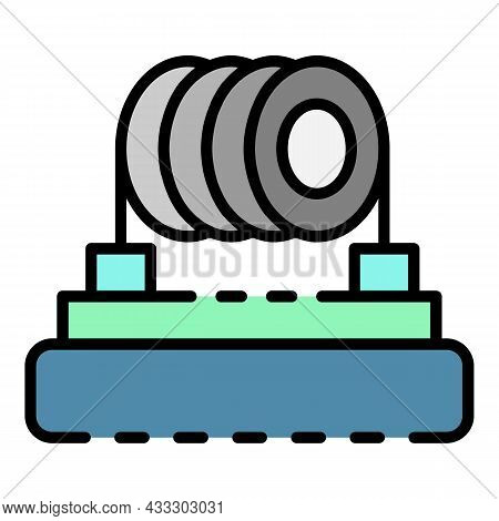 Heating Coil Cigarette Icon. Outline Heating Coil Cigarette Vector Icon Color Flat Isolated