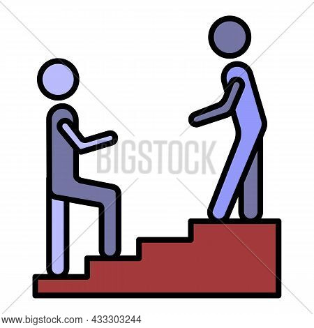 Man Stairs Hand Help Icon. Outline Man Stairs Hand Help Vector Icon Color Flat Isolated