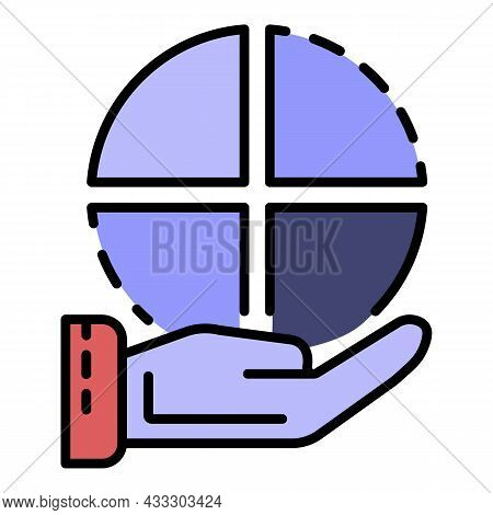 Pie Chart In Hand Icon. Outline Pie Chart In Hand Vector Icon Color Flat Isolated