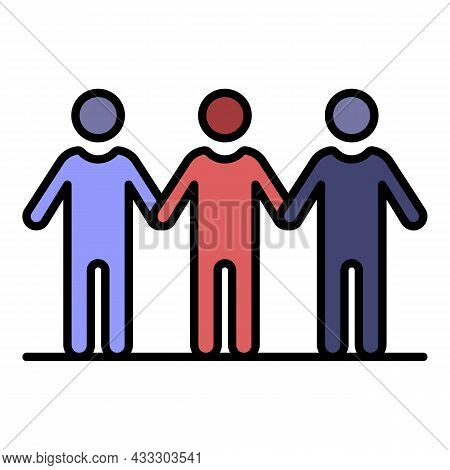 People Teamwork Icon. Outline People Teamwork Vector Icon Color Flat Isolated