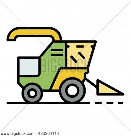 Combine Harvester Icon. Outline Combine Harvester Vector Icon Color Flat Isolated