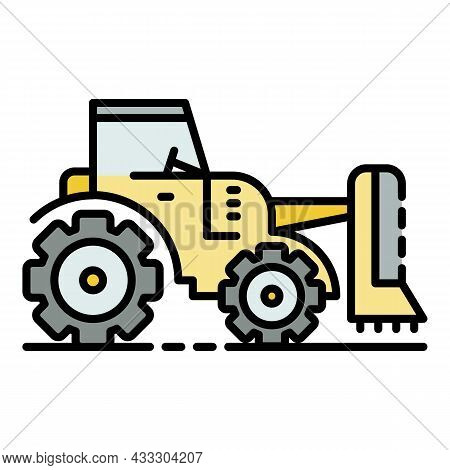 Tractor Grass Cutter Icon. Outline Tractor Grass Cutter Vector Icon Color Flat Isolated
