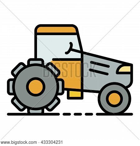 Ground Tractor Icon. Outline Ground Tractor Vector Icon Color Flat Isolated