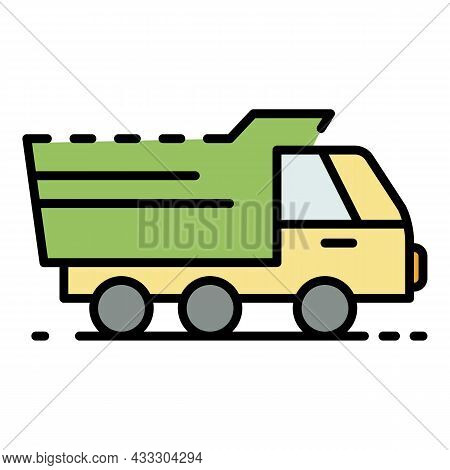 Agriculture Truck Icon. Outline Agriculture Truck Vector Icon Color Flat Isolated