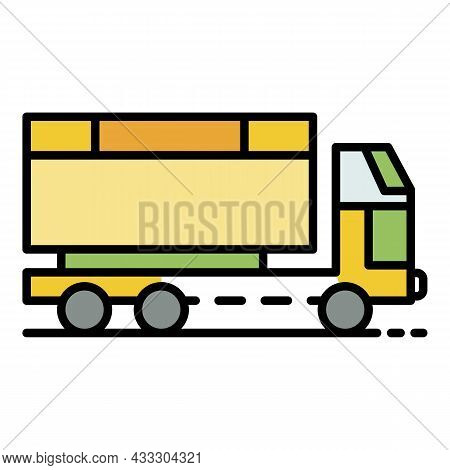 Wheat Truck Icon. Outline Wheat Truck Vector Icon Color Flat Isolated