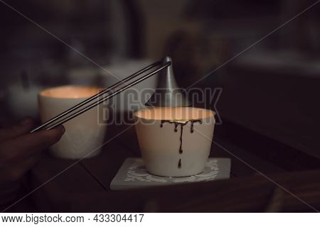 Candle Turned Off Putting Off Fire. Stainless Steel Put Out Candle Flame Wick Long Handle Candle Snu