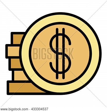 Money Coin Stack Icon. Outline Money Coin Stack Vector Icon Color Flat Isolated