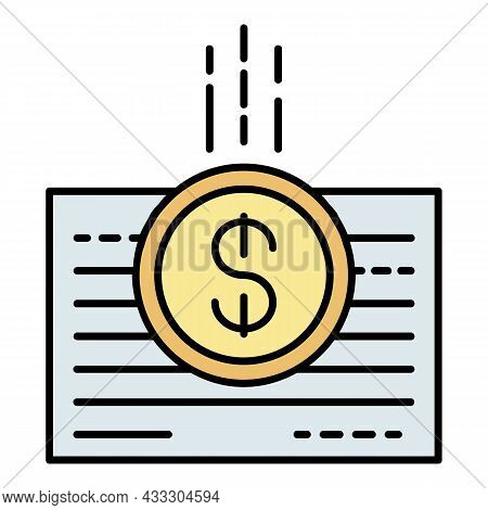 Money Bill Paper Icon. Outline Money Bill Paper Vector Icon Color Flat Isolated