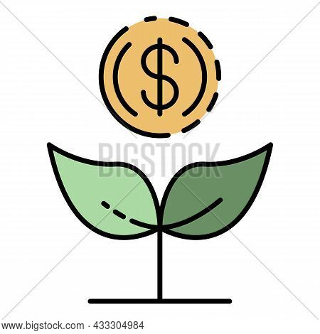 Increase Money Plant Icon. Outline Increase Money Plant Vector Icon Color Flat Isolated