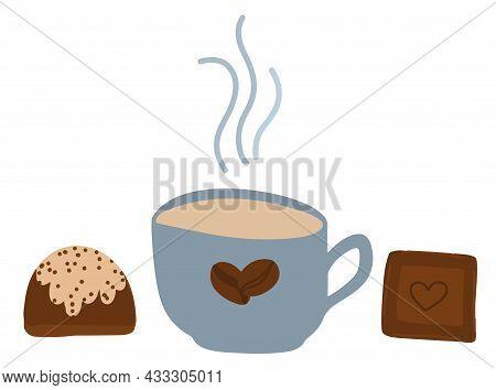 World Coffee Day, International Chocolate Day, World Chocolate Day, Cartoon Illustration, Coffee Mug