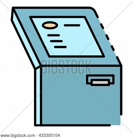 Touch Screen Atm Machine Icon. Outline Touch Screen Atm Machine Vector Icon Color Flat Isolated