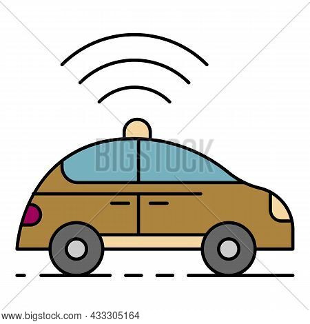 Self Driving Car Icon. Outline Self Driving Car Vector Icon Color Flat Isolated