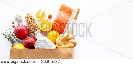 Healthy Food Background. Healthy Food With Fruits And Vegetables. Supermarket Food Concept. Wine, Ch