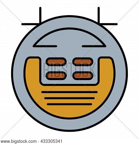 Smart Vacuum Cleaner Robot Icon. Outline Smart Vacuum Cleaner Robot Vector Icon Color Flat Isolated
