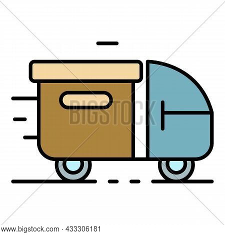 Truck Parcel Delivery Icon. Outline Truck Parcel Delivery Vector Icon Color Flat Isolated