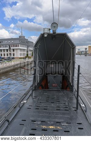 Kaliningrad, Russia - May 14, 2021: Entrance To Submarine Thats Now A Museum Part Of World Oceans Mu