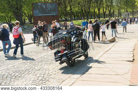 Kaliningrad, Russia - May 10, 2021: Parked Harley Davidson Motorbike On Sunny Day On Kants Island
