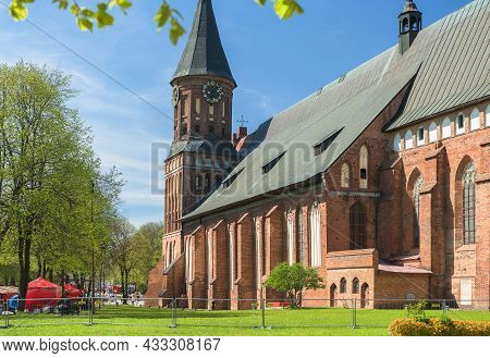 Kaliningrad, Russia - May 10, 2021: Spring Sunny Exterior Of Cathedral On Kants Island