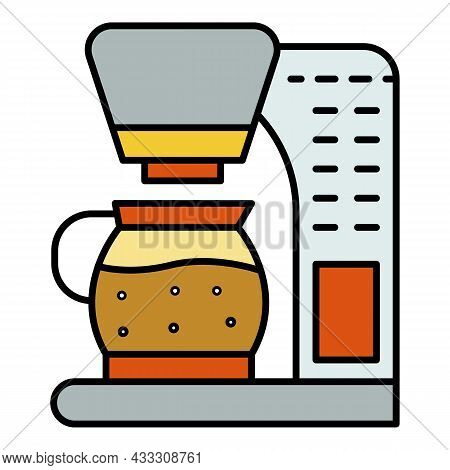 Coffee Maker Icon. Outline Coffee Maker Vector Icon Color Flat Isolated