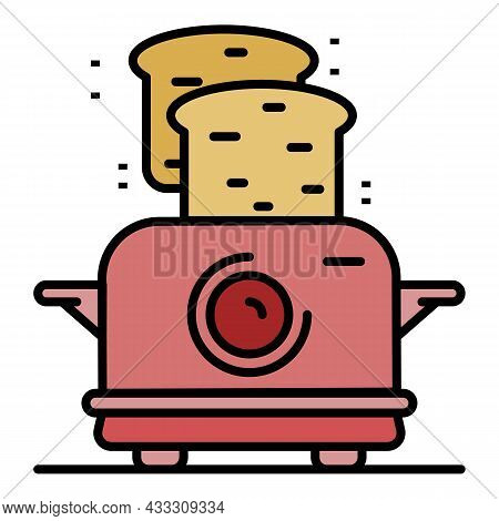 Toaster Icon. Outline Toaster Vector Icon Color Flat Isolated