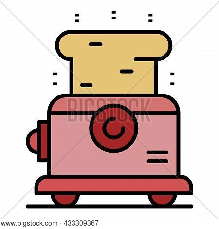 Metal Toaster Icon. Outline Metal Toaster Vector Icon Color Flat Isolated